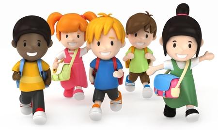 3D render of School Kids Running