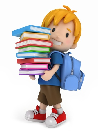 3D Render of Kid with Books Stock Photo - 13803787