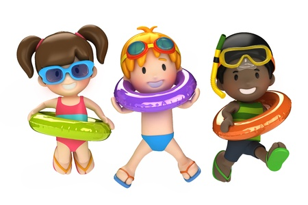 3d render of kids with inflatable ring photo