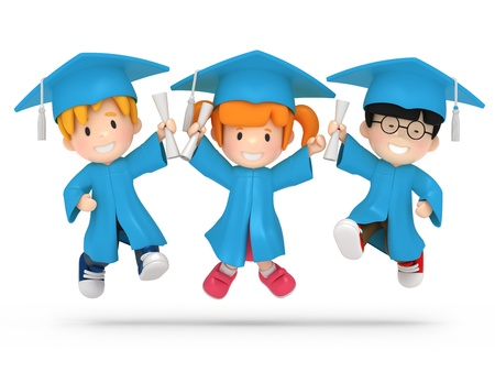 toga: 3D hacen de niños saltando con dilpoma