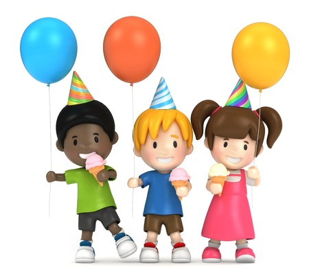 3d render of kids in a party Stock Photo
