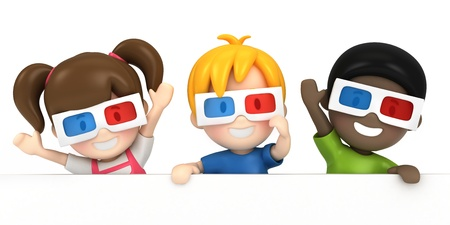 3d render of a kids wearing 3d glass and blankboard photo