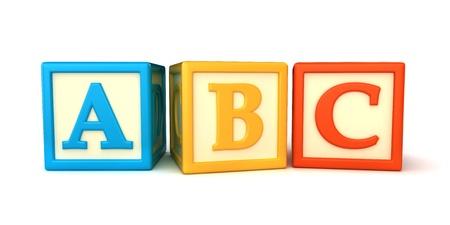 blue 3d blocks: ABC building blocks on white background