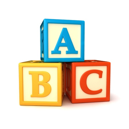 building blocks: ABC building blocks on white background