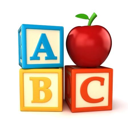 abc blocks: ABC building blocks with apple on white background Stock Photo