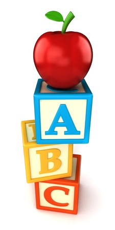 ABC building blocks with apple on white background photo