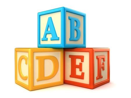 ABC building blocks on white background photo