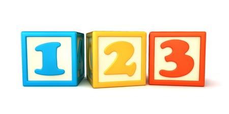 building blocks: 123 building blocks on white background Stock Photo