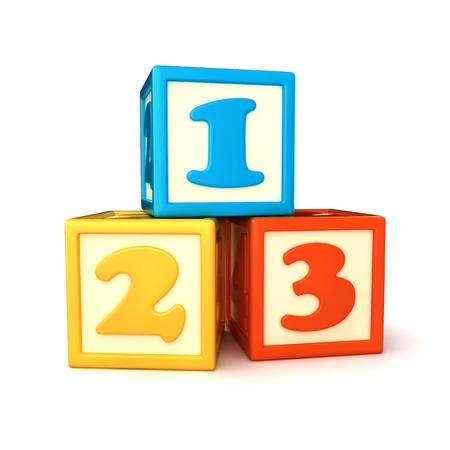 blue 3d blocks: 123 building blocks on white background Stock Photo