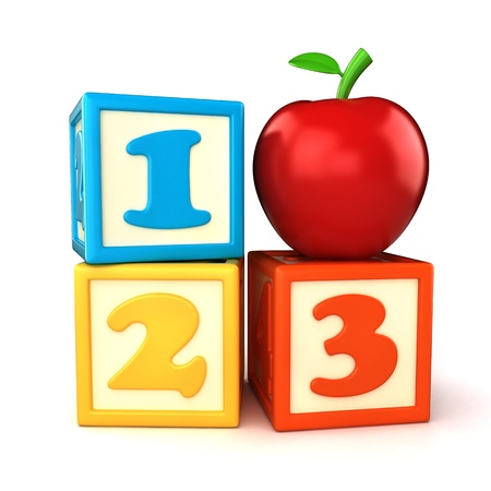 123 building blocks with apple on white background photo