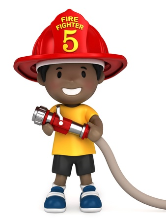 hoses: 3d render of a little firefighter
