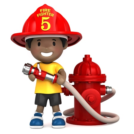 water hoses: 3d render of a little firefighter