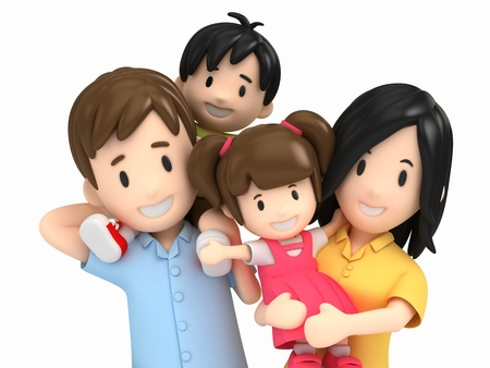 happy 3d: 3d render of a happy family Stock Photo