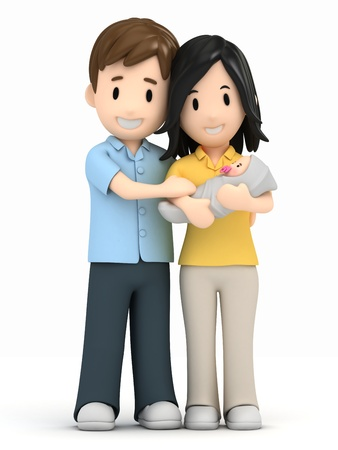 3d render of a happy family Stock Photo
