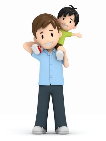 mamma e figlio: 3D rendering di un padre e figlio Archivio Fotografico