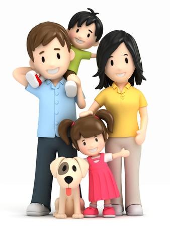 familia abrazo: 3d render de una familia feliz