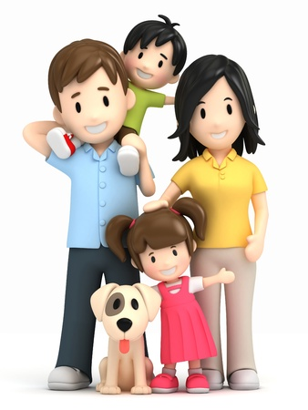 animal family: 3d render of a happy family Stock Photo