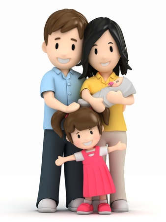 parents with children: 3d render of a happy family Stock Photo