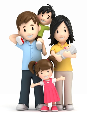 3d render of a happy family photo