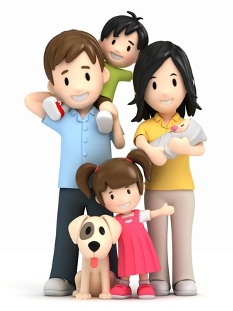 3d render of a happy family and pet