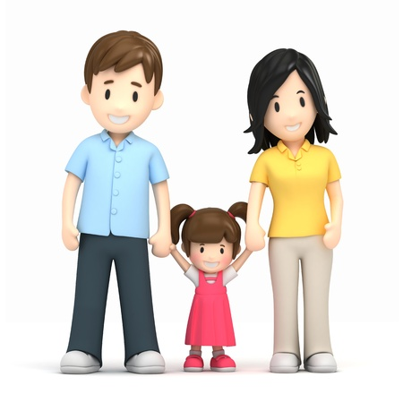 dad daughter: 3d render of a happy family Stock Photo