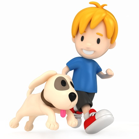 3D Render of Kid and Dog Stock Photo