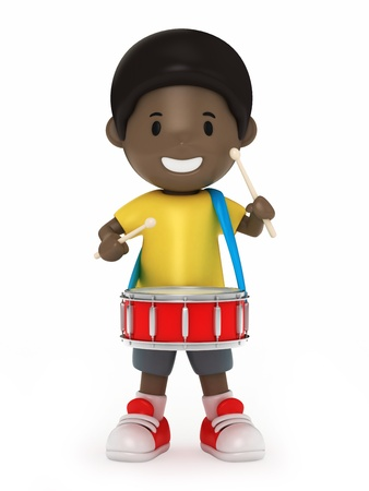 snare: 3D Render of Kid with snare drum Stock Photo
