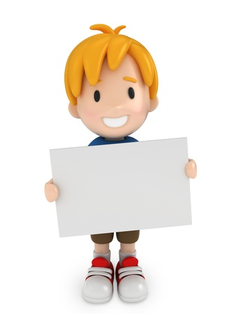3D Render of Kid and Blank Board photo