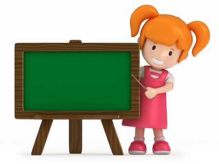 pre school: 3D Render of Little Girl and Chalkboard Stock Photo