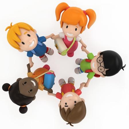 niño preescolar: Render 3D de niños de escuela Agarrados de la mano