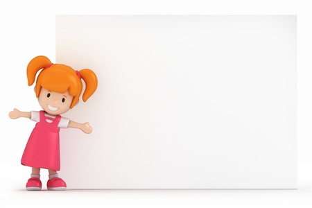 pre school: 3D Render of Little Girl and Blank Board