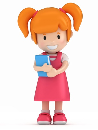 pre: 3D Render of Little Girl Holding a Book