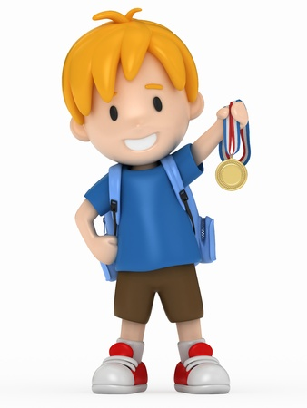 victorious: 3D Render of Kid with Gold Medal Stock Photo