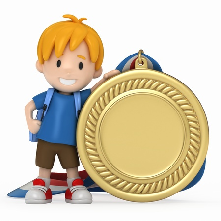 3D Render of Kid with Big Medal Stock Photo