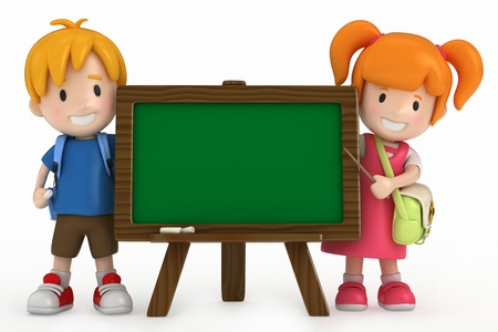 3D Render of Kids and Chalkboard Stock Photo