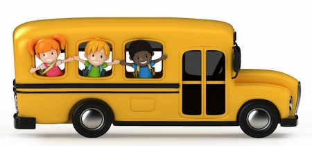 transporte escolar: Render 3D de niños Riding School Bus