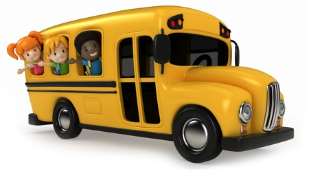 3D Render of Kids Riding School Bus photo