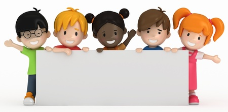 3D Render of Kids and Blank Board Stock Photo
