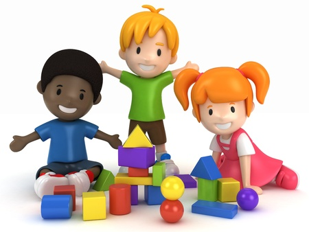 buddy: 3D Render of kids Playing Building Blocks Stock Photo