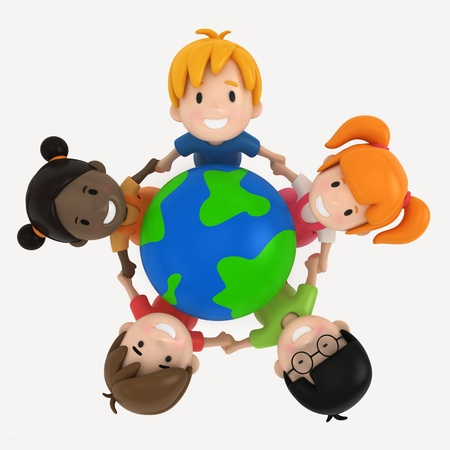 3D Render of Kids and Earth