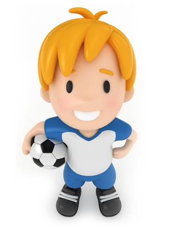 3D Render of Kid holding Soccer Ball photo
