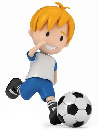 kids football: 3D Render of Kid kicking Soccer Ball Stock Photo