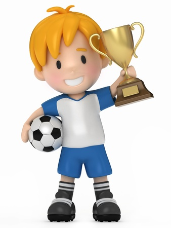 kids football: 3D Render of Kid with Soccer ball and Trophy