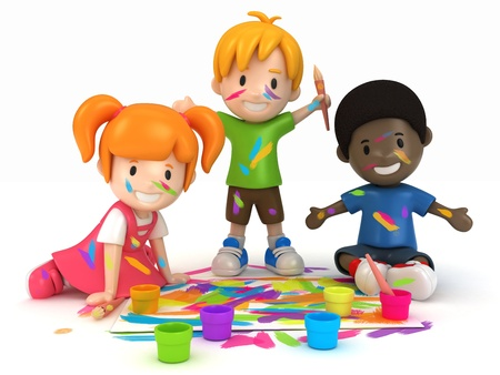 3D Render of Kids Painting Stock Photo