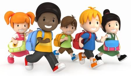 school play: 3D render of School Kids Running