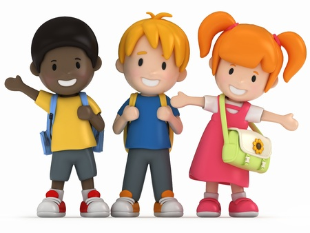 buddy: 3D Render of Happy School Kids