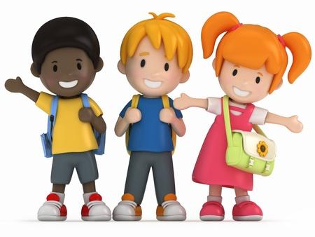3D Render of Happy School Kids