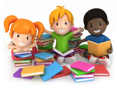 school friends: 3D Render of Kids Surrounded by Books