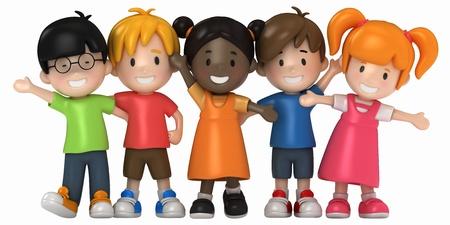 3D Render of Happy Kids
