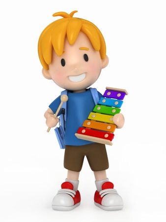 pre school: 3D Render of Kid playing Xylophone Stock Photo